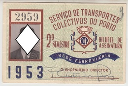 Season Ticket * Passe * Portugal * 1953 * STCP * Vertical Fold - Europe