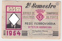 Season Ticket * Passe * Portugal * 1954 * STCP * Vertical Fold - Europe