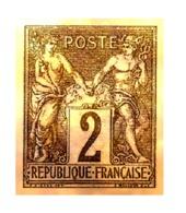 RARE & SUPERBE VIGNETTE SAGE N°62 2c N/B Plaqué OR NEUF LUXE - 1876-1878 Sage (Type I)