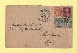 Type Blanc - Medea Algerie - 1924 - Pour Saint Eugene - Semeuse - Postmark Collection (Covers)
