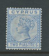 Cyprus 1882 QV 2 Piastre Blue Fine Mint - Chypre (République)