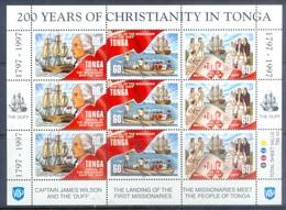 H34- Tonga 1997. 200 Th Anniversary Of The Birth Of King George Tupou I & Christianity In Tonga. - Ships