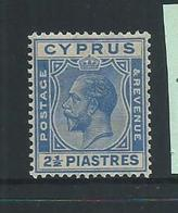 Cyprus 1924 KGV 2 & 1/2 Piastre Blue MLH - Cyprus (Republic)