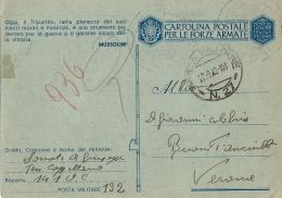 FRANCHIGIA POSTA MILITARE 27 1943 SFAX TUNISIA OSPEDALE CAMPO 141 VERONA - 1900-44 Vittorio Emanuele III
