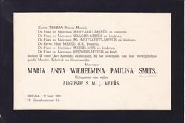 BREDA Maria Anna SMITS épouse Auguste MEEUS 1938 Carton Mortuaire Horizontal Format A5 HEIJVAERT MUTSAERTS - Overlijden
