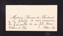 POLLEUR SPA Château De FAYS Madame SIMONIS De FAESTRAETS Carte De Visite Avant 1900 - Visiting Cards