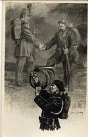 Guerre 1914-18 - Chasseur Alpin Jouant Du Cor - (Poilu) - Carte-Photo Lapierre à Saint-Quentin - Dessin G.Girodoy - Guerra 1914-18