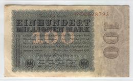GERMANY 107 1923 100000000 Mark Used - [ 3] 1918-1933 : Weimar Republic