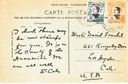 FRENCH  INDO-CHINE  HOI  HAO  PPC  To U.S. - Hoi-Hao (1900-1922)