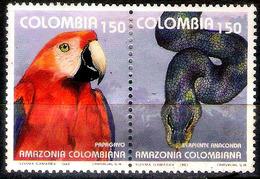 2864  Parrots - Perroquets - Snakes - Colombie 1004-05 - No Gum - 1,25 (3) - Perroquets & Tropicaux
