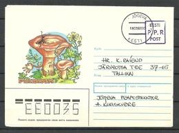 Estland Estonia 1991 Provisional Handstamp Surcharge P.P.R. Stationery Cover Mushrooms - Estonia