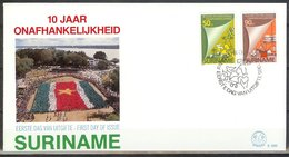 Mel099b 10 JAAR STAATKUNDIGE ONAFHANDKELIJKHEID INDEPENDENCE 10 YEARS SURINAME 1985 FDC - Suriname