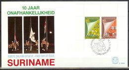 Mel099Ab 10 JAAR STAATKUNDIGE ONAFHANDKELIJKHEID INDEPENDENCE 10 YEARS SURINAME 1985 FDC - Suriname