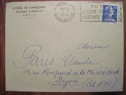 Lettre Enveloppe 1958 SETIF Cover Colonies France Algérie Ecole Des Garçons Eugène ALBERTINI - Algerije (1924-1962)