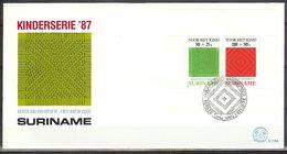 Mel119Ab KINDERZEGELS VLECHTWERK HANDWERK STAMPS FOR THE CHILDREN JUGENDWOHLFAHRT SURINAME 1987 FDC - Textiel