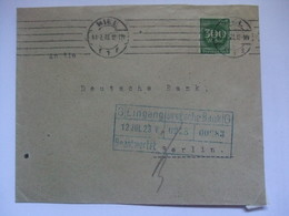 GERMANY - 1923 Inflation Cover - Miel To Berlin With Bank Receiving Mark - 300 Dm Rate - Germania