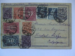 GERMANY - 1923 Inflation Postcard - Coln To Liege Belgium - Multi-stamped - Alemania