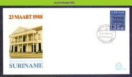 Mel122XXb BANKGEBOUW BANK BUILDING ** OPDRUK OVERPRINT ** SURINAME 1988 FDC - Suriname