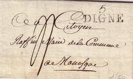 """HAUTES ALPES - 5 DIGNE - LE 5 FRUTIDOR AN 8 (23/8/1800) - TEXTE """"Au Maire De Manosque, Vous Avez été Citoyen Maire Dans - Postmark Collection (Covers)"""