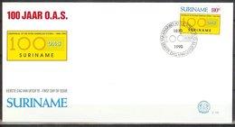 Mel141b 100-JARIG BESTAAN VAN DE ORGANISATIE VAN AMERIKAANSE STATEN OAS 100 YEARS AMERICAN STATES SURINAME 1990 FDC - Suriname