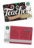 Starbucks Card - Canada - Teacher Thanks - 6112 Mint Pin - Gift Cards