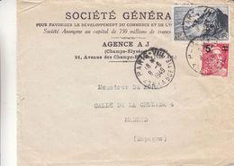 Perforés - France - Lettre De 1949 - Oblit Paris VIII - Exp Vers Madrid - Perforation Société Générale - Perforés