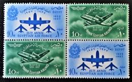 25 EME ANNIVERSAIRE ARMEE DE L'AIR ET COMPAGNIE MISRAIR 1957 - BLOC DE QUATRE ** - YT 408/09 - MI 520/21 - Egypt