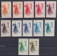 France 1949 - 12 Vignettes Marianne De Gandon Neuf** - Essais De Couleur - Proofs