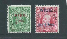 Niue 1911 Overprints On KEVII NZ 1/2d FU & 6d MLH - Niue