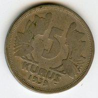 Turquie Turkey 5 Kurus 1939 KM 862 - Turquia