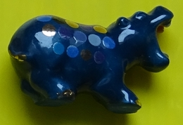 Fève  - Les  Hippos Décos  - Hippopotame Bleu Marine  - Réf AFF 2013 111 - Animals