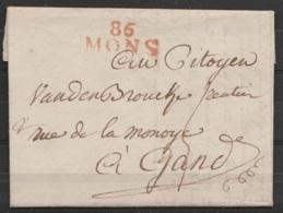 """L Datée 9 Mai 1800 De MONS Pour GAND - Griffe """"86/MONS"""" - 1794-1814 (French Period)"""