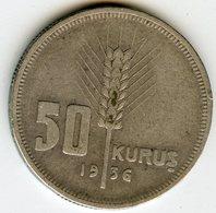 Turquie Turkey 50 Kurus 1936 Argent KM 865 - Türkei