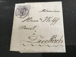 Luxembourg Lettre Avec No 17 Diekirch - 1859-1880 Coat Of Arms