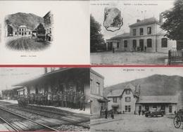 CP - TRAIN - Reproduction - LA GARE DE REVIN - LOT 4 VUES - Stations Without Trains