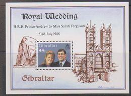 Gibraltar 1986 Royal Wedding Prince Andrew Sarah Ferguson M/s ** Mnh (38232A) - Gibilterra