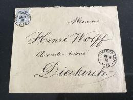 Luxembourg Lettre Avec No 42 Echternach Pour Diekirch - 1859-1880 Wappen & Heraldik