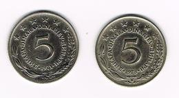 JOEGOSLAVIE  2 X 5  DINARA  1971/73 - Yougoslavie