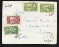 Algérie Lettre De Oran Le 08/08/1938 à Beaumont Les Valence Les N° 105x2 ; 107 Et 108  B/TB - Briefe U. Dokumente