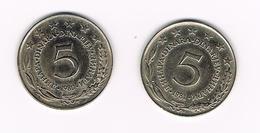 JOEGOSLAVIE  2 X 5  DINARA  1980/81 - Yougoslavie