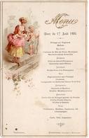 Menu 17 Août 1904 à Varennes, Pommereau Traiteur à Montargis, Illustré Femme Ange Cupidon - Menu