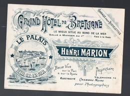 Belle Ile En Mer (56 Morbihan) Belle Carte GRAND HOTEL DE BRETAGNE Henri Marion (PPP12522) - Publicités