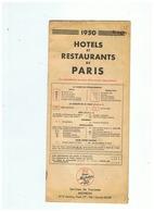 1950 HOTELS Et RESTAURANTS De PARIS EDITE PAR LE PNEU MICHELIN - Tourism Brochures