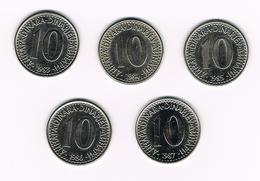 JOEGOSLAVIE  5 X 10  DINARA  1983/84/85/86/87 - Yougoslavie