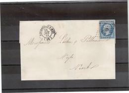 Cp16 - N° 14 Sur Lettre Du 28 OCT 61 De ROCHEFORT-S-MER Petits Chiffres 2703 Pour NIORT - 1853-1860 Napoléon III