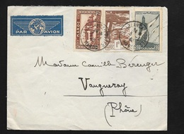 Maroc Lettre Par Avion Casablanca Le 04/03/1940 Pour Vaugneray Le 06/03/1940 Les N°134;182; Et PA N°43    B/TB - Briefe U. Dokumente