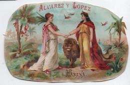 Chromo D'abattant Intérieur De Boite De Cigares/Retaillé/LA CORONA/  Alvarez Y Lopez/ Havana/ Vers 1895           CIG61 - Cigarette Cards