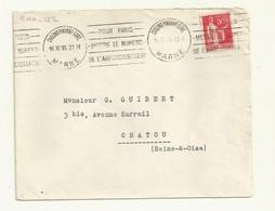 OBLITERATION MECANIQUE  SUR LETTRE  CHALONS/MARNE 1935 - Oblitérations Mécaniques (flammes)