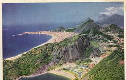 Cpa,BRESIL,BRAZIL,rio De Janeiro,praia Vermelha  E Zona Sul ,avec Timbre 1950,plage,falaise,rare - Rio De Janeiro