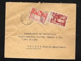 Maroc Lettre De Meknés Le 31/10/1950 Pour Thiers Les N°254 Et 261   B/TB - Briefe U. Dokumente